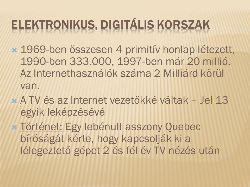  1969-ben összesen 4 primitív honlap létezett, 1990-ben 333.000, 1997-ben már 20 millió.