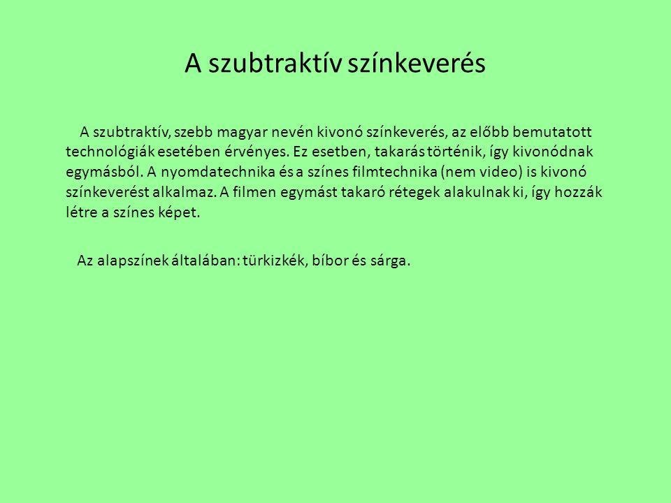 A szubtraktív színkeverés A szubtraktív, szebb magyar nevén kivonó színkeverés, az előbb bemutatott technológiák esetében érvényes.