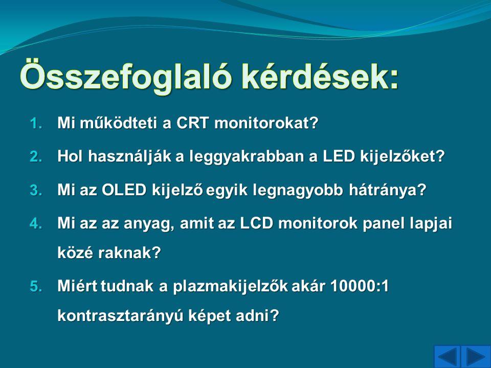 1. Mi működteti a CRT monitorokat? 2. Hol használják a leggyakrabban a LED kijelzőket? 3. Mi az OLED kijelző egyik legnagyobb hátránya? 4. Mi az az an