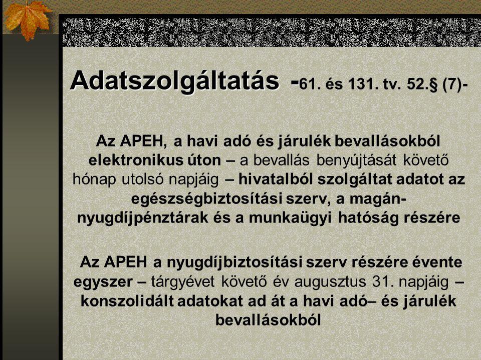 Adatszolgáltatás - Adatszolgáltatás - 61. és 131.