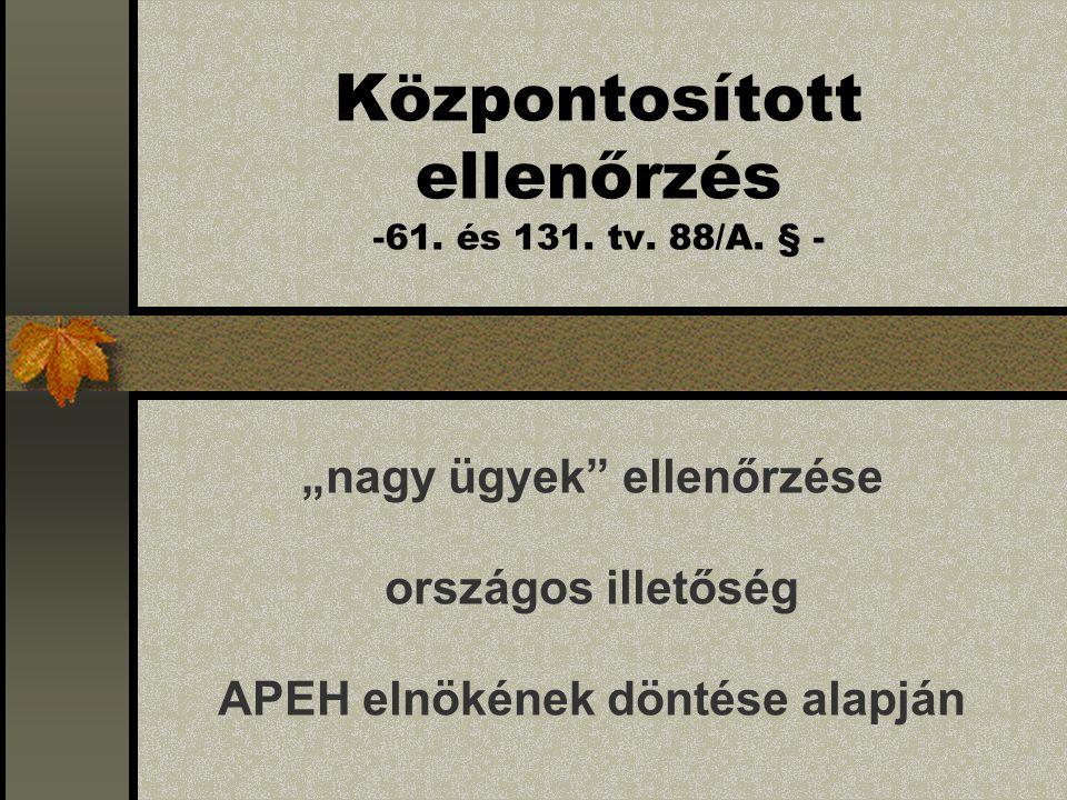 Központosított ellenőrzés -61. és 131. tv. 88/A.