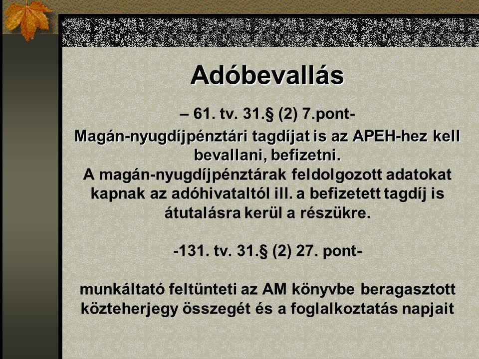 Adóbevallás Magán-nyugdíjpénztári tagdíjat is az APEH-hez kell bevallani, befizetni. Adóbevallás – 61. tv. 31.§ (2) 7.pont- Magán-nyugdíjpénztári tagd