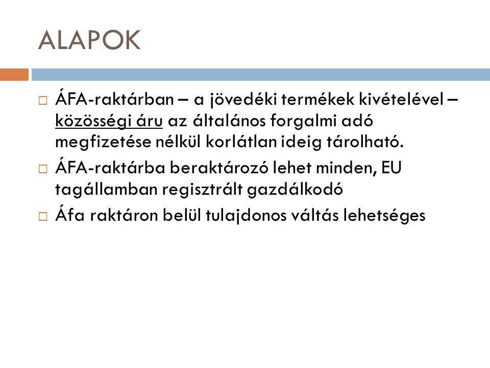 ALAPOK  ÁFA-raktárban – a jövedéki termékek kivételével – közösségi áru az általános forgalmi adó megfizetése nélkül korlátlan ideig tárolható.  ÁFA