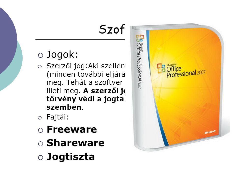 Szoftvervásárlás  Mire jogosít:  a szoftver használatára vonatkozó engedélyt (licenc) szerezzük meg.