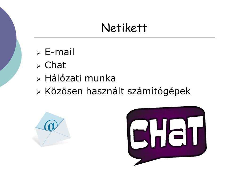 Netikett  E-mail  Chat  Hálózati munka  Közösen használt számítógépek