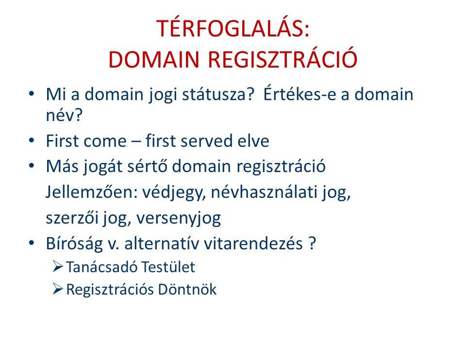 TÉRFOGLALÁS: DOMAIN REGISZTRÁCIÓ Mi a domain jogi státusza.