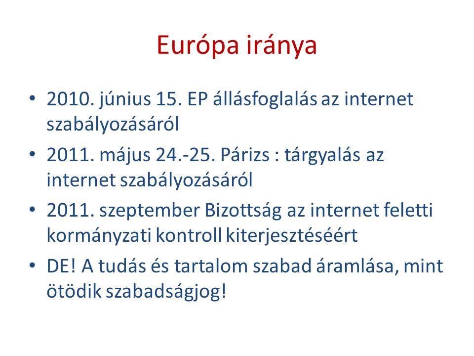 Európa iránya 2010. június 15. EP állásfoglalás az internet szabályozásáról 2011.