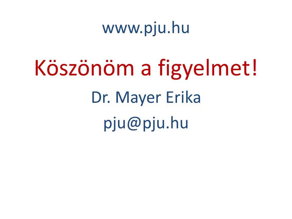 www.pju.hu Köszönöm a figyelmet! Dr. Mayer Erika pju@pju.hu