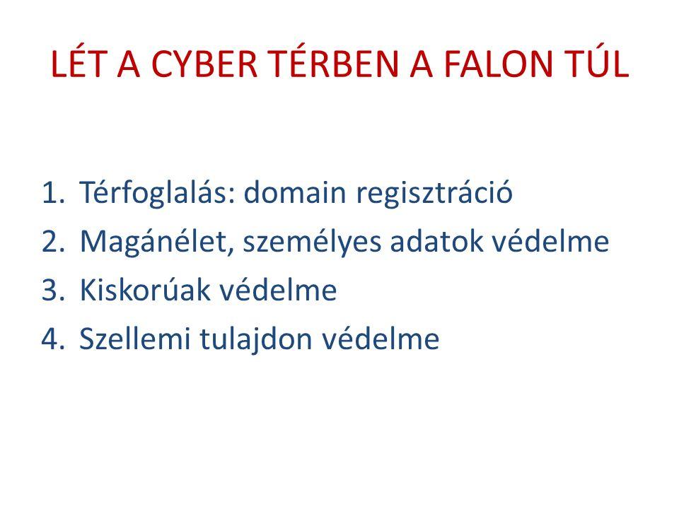 LÉT A CYBER TÉRBEN A FALON TÚL 1.Térfoglalás: domain regisztráció 2.Magánélet, személyes adatok védelme 3.Kiskorúak védelme 4.Szellemi tulajdon védelme