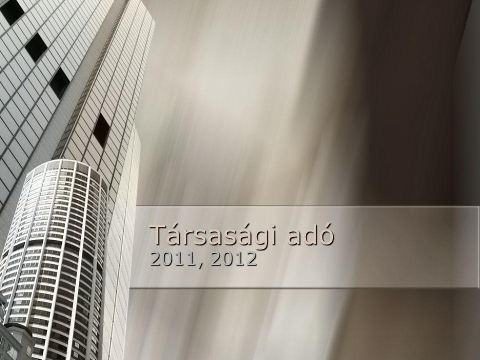 Társasági adó 2011, 2012