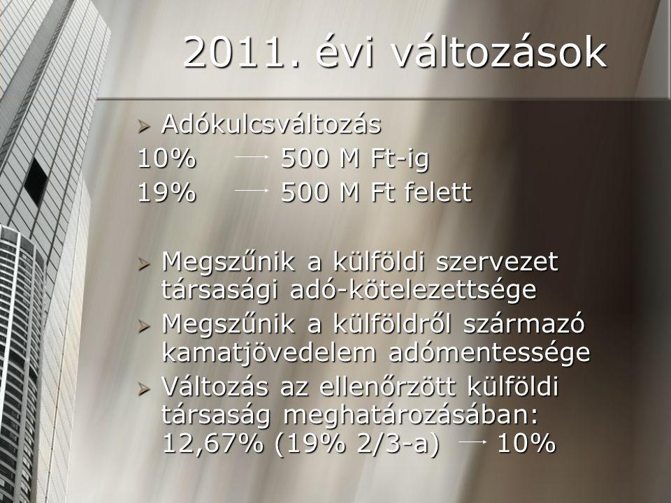 2011. évi változások  Adókulcsváltozás 10% 500 M Ft-ig 19% 500 M Ft felett  Megszűnik a külföldi szervezet társasági adó-kötelezettsége  Megszűnik