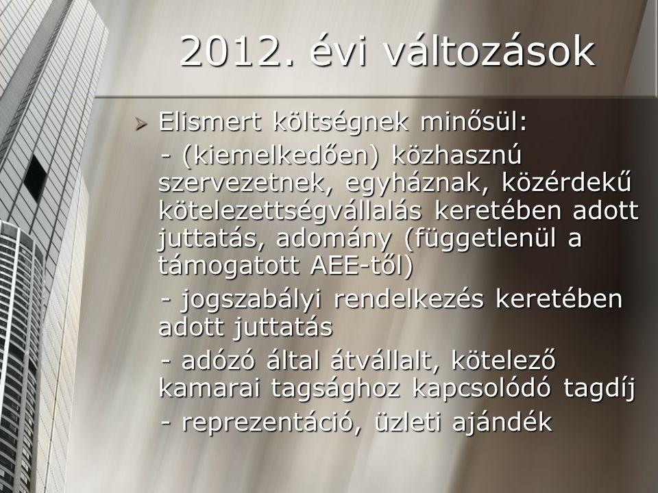 2012. évi változások  Elismert költségnek minősül: - (kiemelkedően) közhasznú szervezetnek, egyháznak, közérdekű kötelezettségvállalás keretében adot