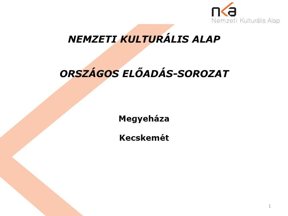 1 NEMZETI KULTURÁLIS ALAP ORSZÁGOS ELŐADÁS-SOROZAT Megyeháza Kecskemét