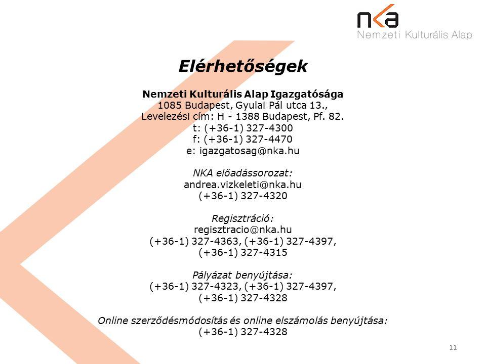 11 Elérhetőségek Nemzeti Kulturális Alap Igazgatósága 1085 Budapest, Gyulai Pál utca 13., Levelezési cím: H - 1388 Budapest, Pf.
