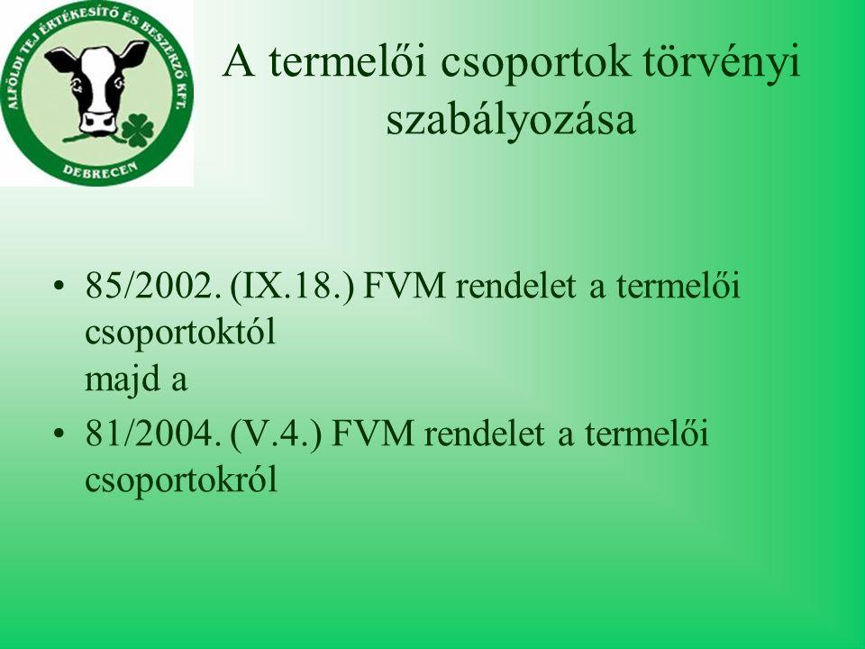 A termelői csoportok törvényi szabályozása 85/2002.
