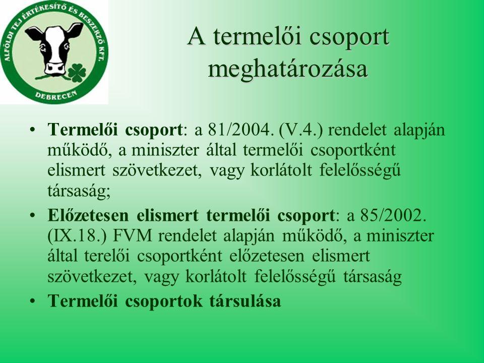 A termelői csoport meghatározása Termelői csoport: a 81/2004.