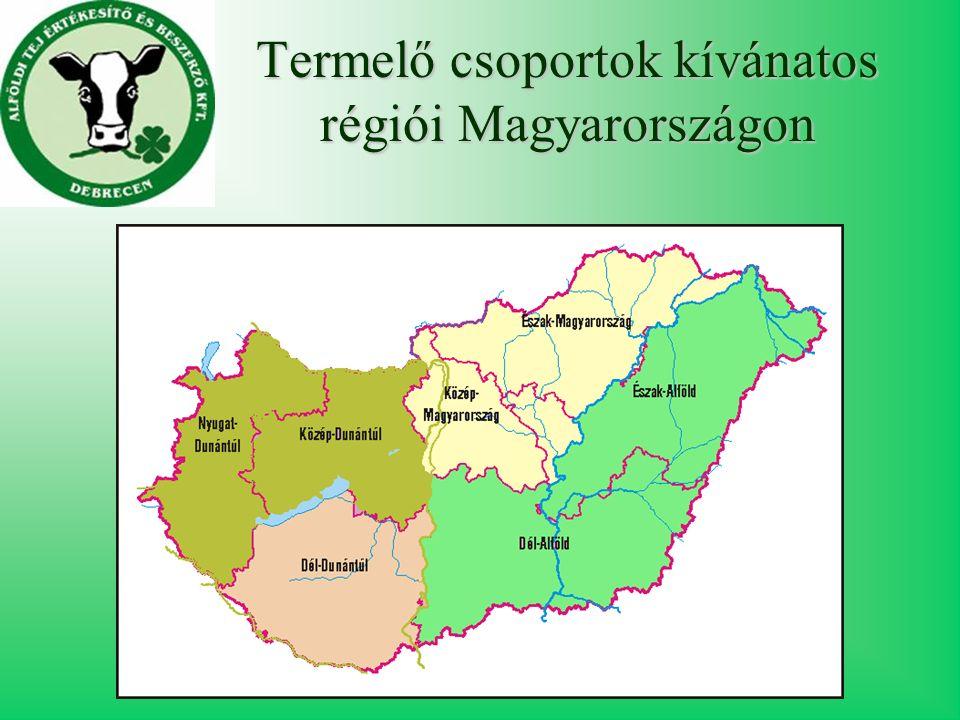 Termelő csoportok kívánatos régiói Magyarországon