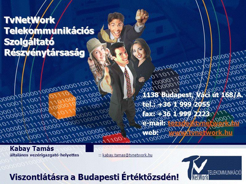 Kabay Tamás általános vezérigazgató-helyettes :: kabay.tamas@tvnetwork.hu TvNetWorkTelekommunikációsSzolgáltatóRészvénytársaság Viszontlátásra a Budap