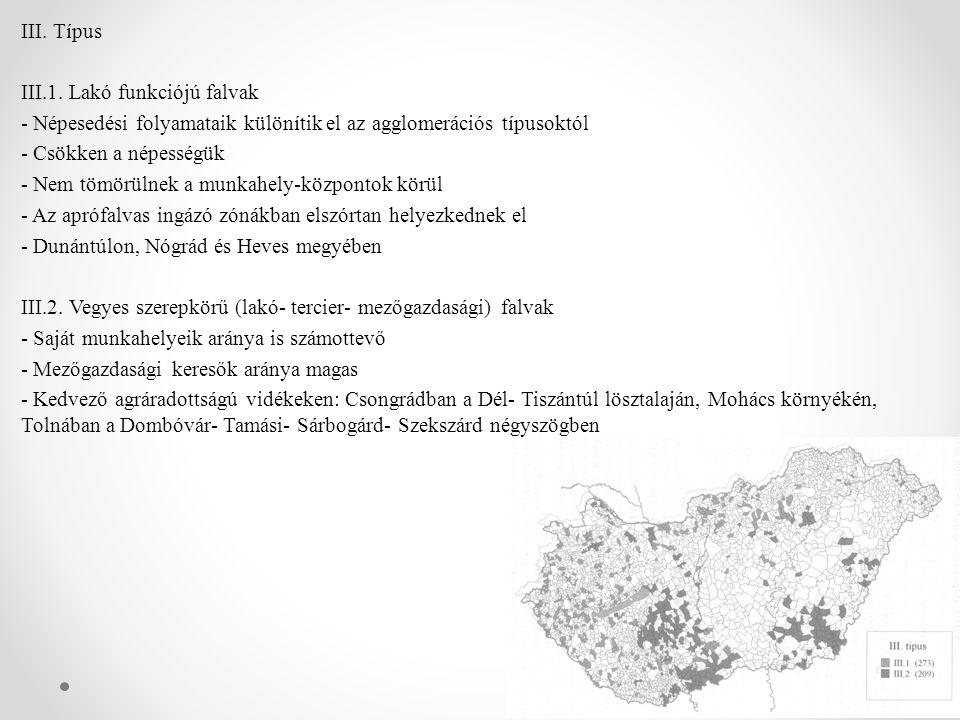 IV.Típus idegenforgalmi jellegű faluk - Idegenforgalmi szerepkörű falvak, fürdőhelyek - Pl.