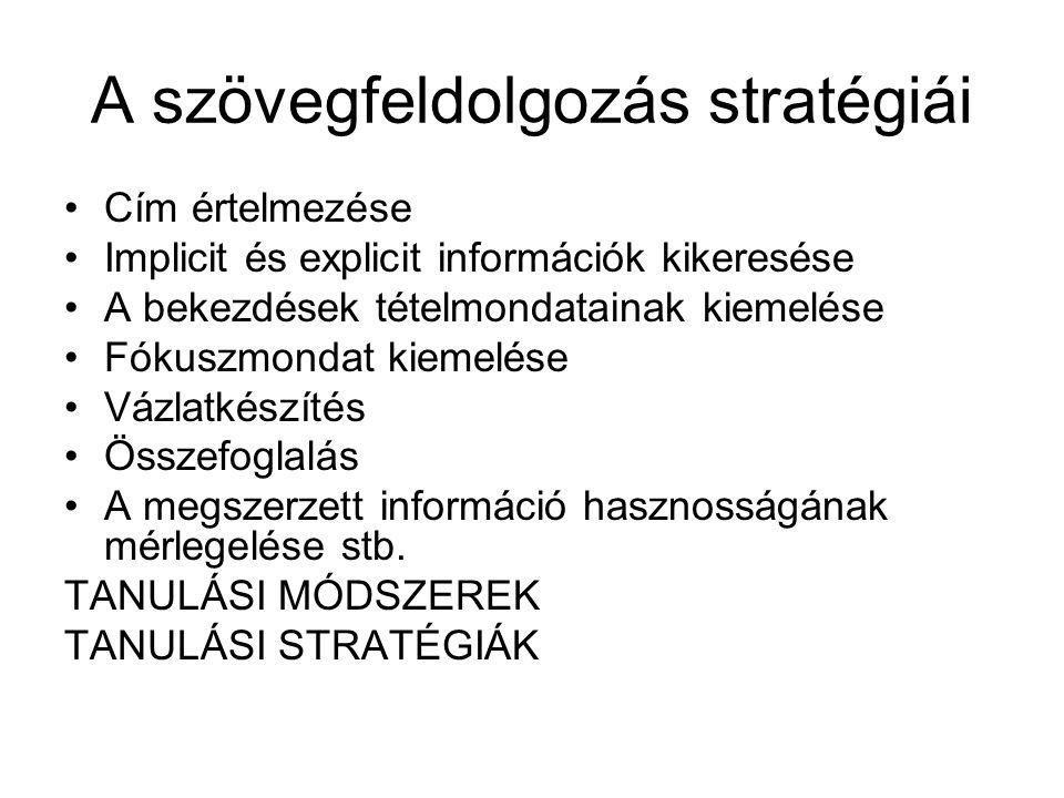 A szövegfeldolgozás stratégiái Cím értelmezése Implicit és explicit információk kikeresése A bekezdések tételmondatainak kiemelése Fókuszmondat kiemelése Vázlatkészítés Összefoglalás A megszerzett információ hasznosságának mérlegelése stb.