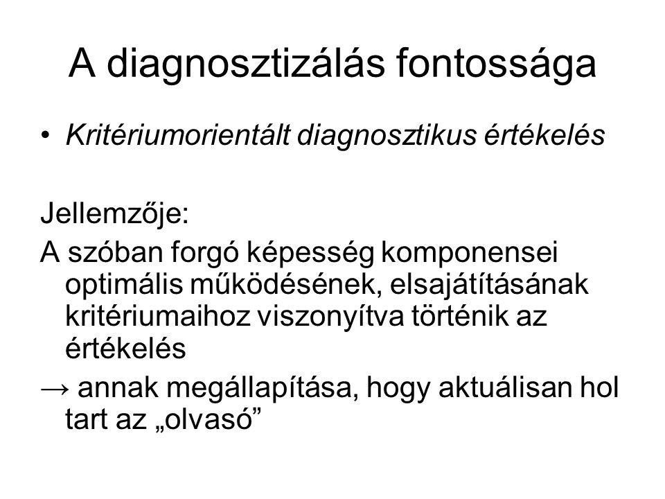 """A diagnosztizálás fontossága Kritériumorientált diagnosztikus értékelés Jellemzője: A szóban forgó képesség komponensei optimális működésének, elsajátításának kritériumaihoz viszonyítva történik az értékelés → annak megállapítása, hogy aktuálisan hol tart az """"olvasó"""