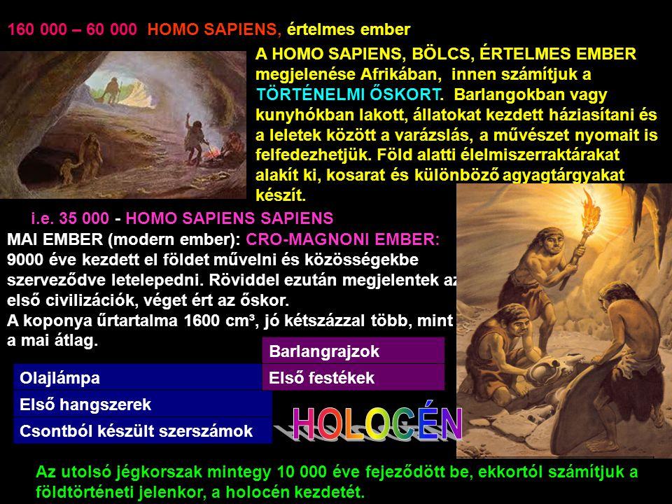 160 000 – 60 000 HOMO SAPIENS, értelmes ember A HOMO SAPIENS, BÖLCS, ÉRTELMES EMBER megjelenése Afrikában, innen számítjuk a TÖRTÉNELMI ŐSKORT.