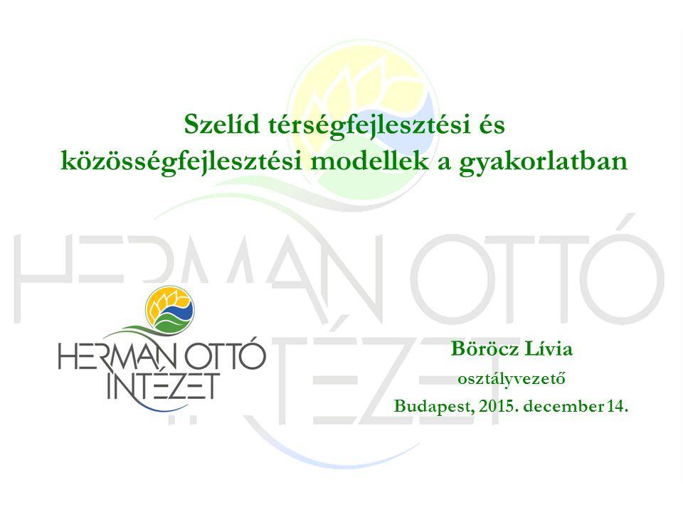 Szelíd térségfejlesztési és közösségfejlesztési modellek a gyakorlatban Böröcz Lívia osztályvezető Budapest, 2015.