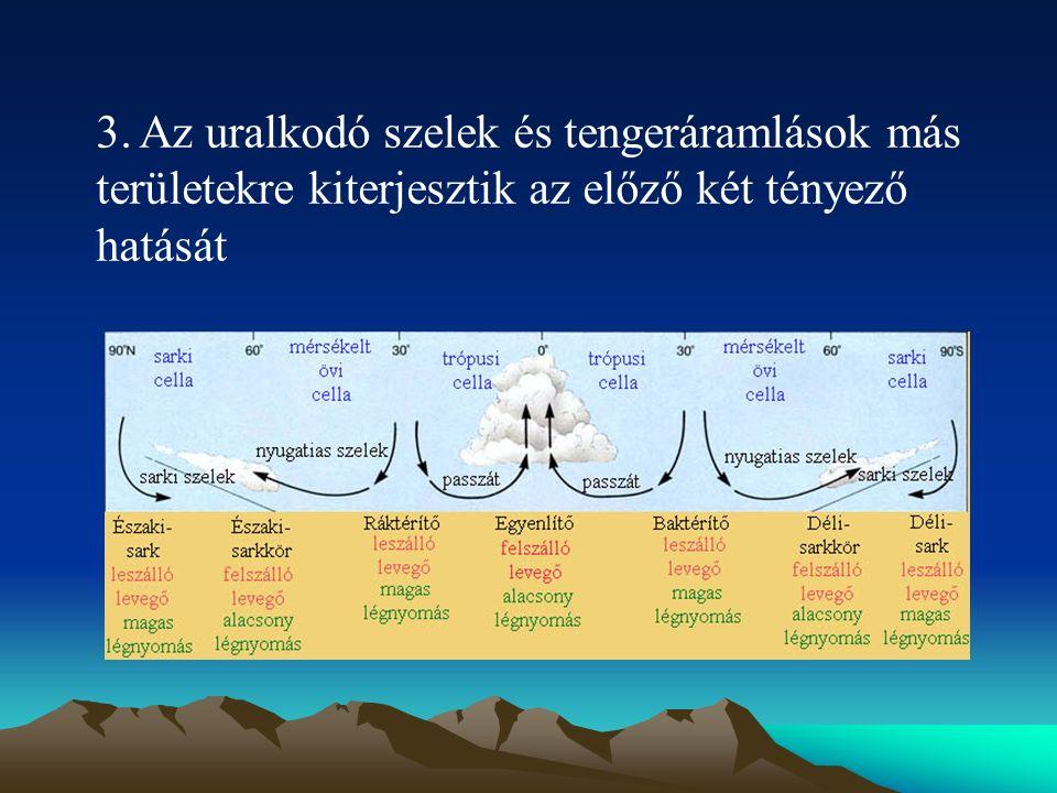 3. Az uralkodó szelek és tengeráramlások más területekre kiterjesztik az előző két tényező hatását
