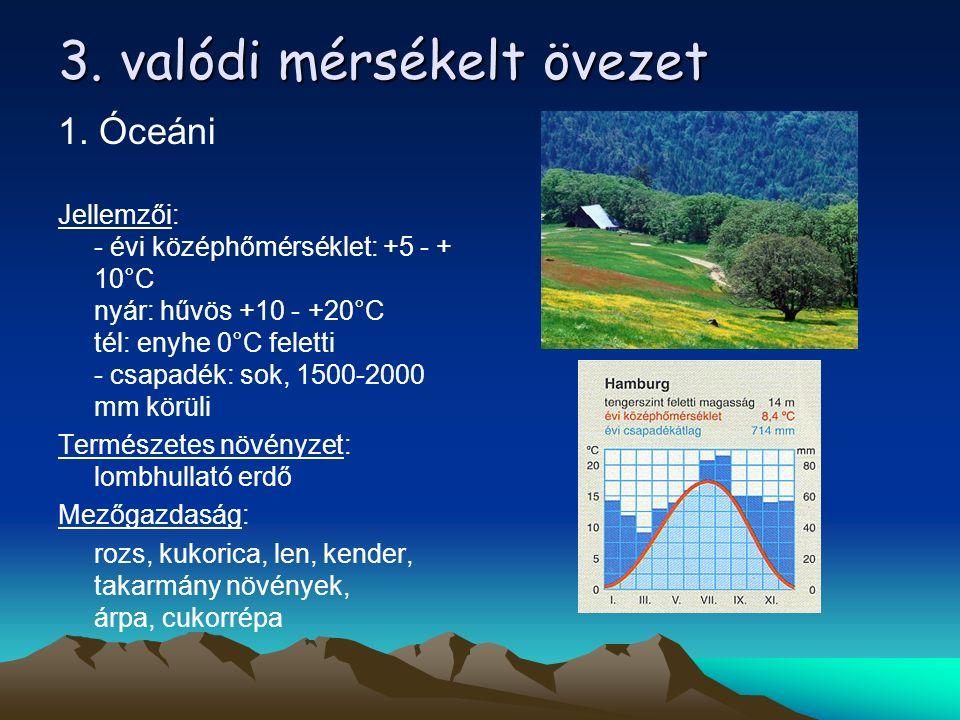 3. valódi mérsékelt övezet 1. Óceáni Jellemzői: - évi középhőmérséklet: +5 - + 10°C nyár: hűvös +10 - +20°C tél: enyhe 0°C feletti - csapadék: sok, 15