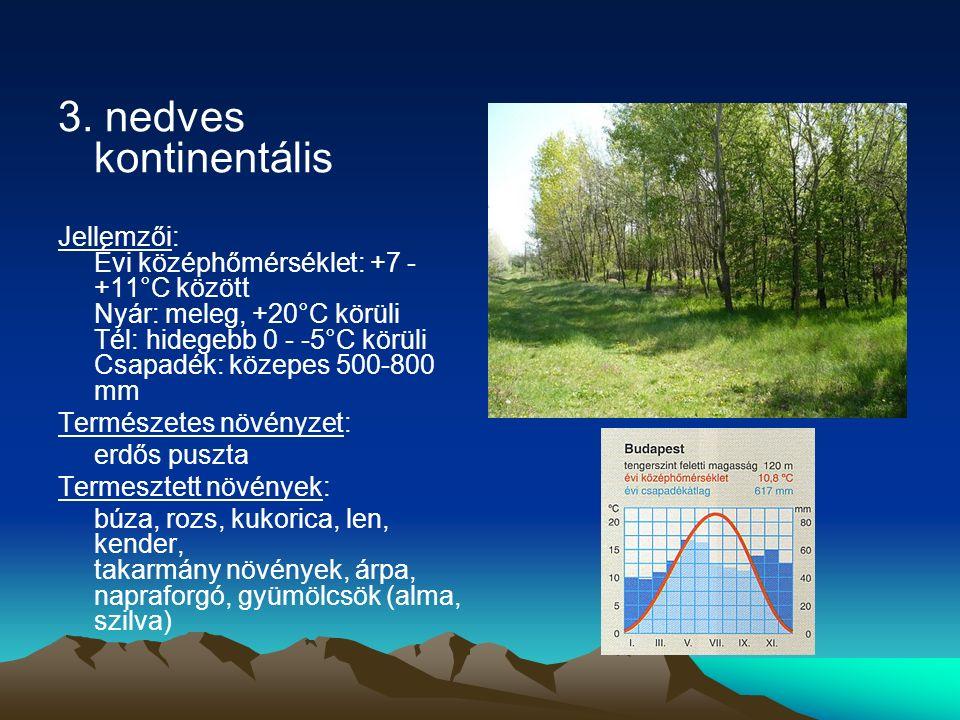3. nedves kontinentális Jellemzői: Évi középhőmérséklet: +7 - +11°C között Nyár: meleg, +20°C körüli Tél: hidegebb 0 - -5°C körüli Csapadék: közepes 5