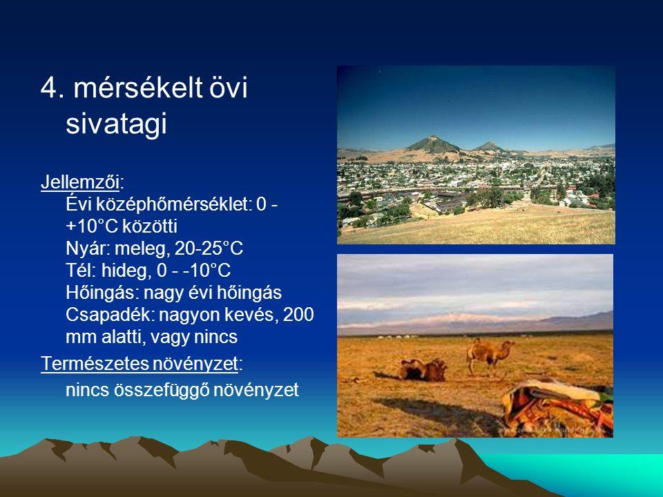 4. mérsékelt övi sivatagi Jellemzői: Évi középhőmérséklet: 0 - +10°C közötti Nyár: meleg, 20-25°C Tél: hideg, 0 - -10°C Hőingás: nagy évi hőingás Csap
