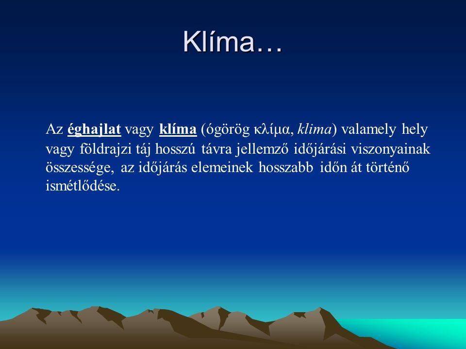 Klíma… Az éghajlat vagy klíma (ógörög κλίμα, klima) valamely hely vagy földrajzi táj hosszú távra jellemző időjárási viszonyainak összessége, az időjárás elemeinek hosszabb időn át történő ismétlődése.