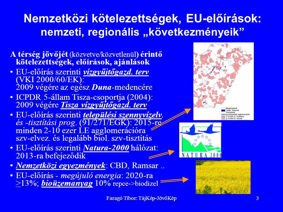 Faragó Tibor: TájKép-JövőKép3 A térség jövőjét (közvetve/közvetlenül ) érintő kötelezettségek, előírások, ajánlások EU-előírás szerinti vízgyűjtőgazd.