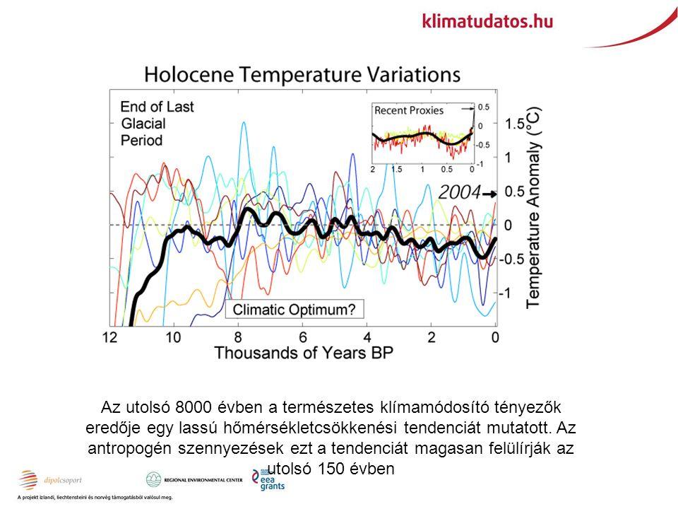 Az utolsó 8000 évben a természetes klímamódosító tényezők eredője egy lassú hőmérsékletcsökkenési tendenciát mutatott.