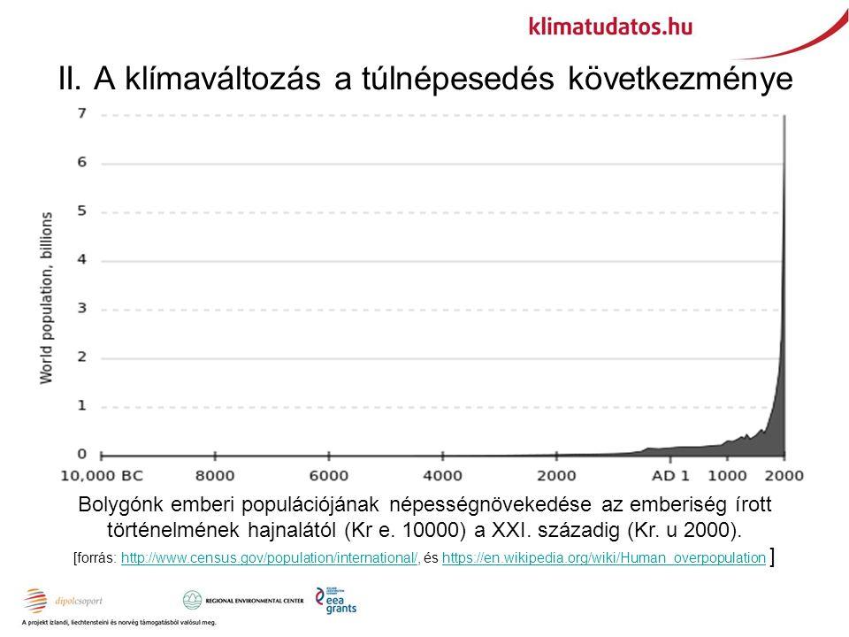 II. A klímaváltozás a túlnépesedés következménye Bolygónk emberi populációjának népességnövekedése az emberiség írott történelmének hajnalától (Kr e.