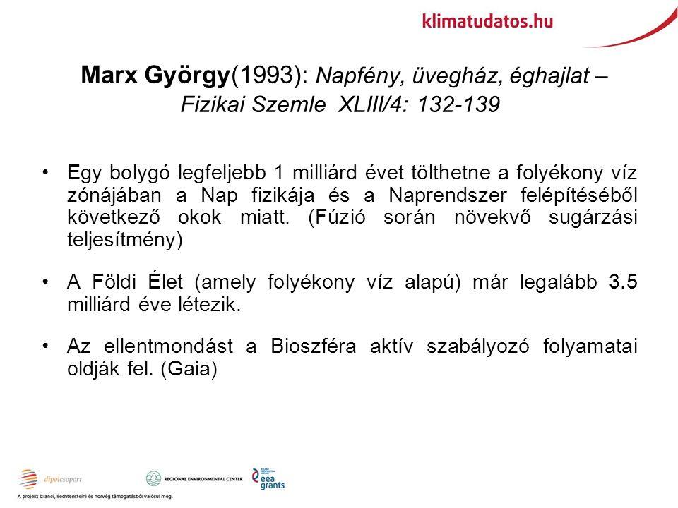 Marx György(1993): Napfény, üvegház, éghajlat – Fizikai Szemle XLIII/4: 132-139 Egy bolygó legfeljebb 1 milliárd évet tölthetne a folyékony víz zónájában a Nap fizikája és a Naprendszer felépítéséből következő okok miatt.