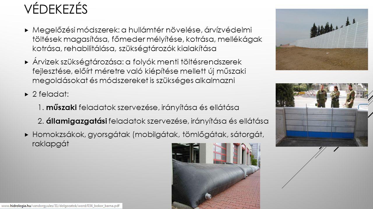 VÉDEKEZÉS  Megelőzési módszerek: a hullámtér növelése, árvízvédelmi töltések magasítása, főmeder mélyítése, kotrása, mellékágak kotrása, rehabilitálása, szükségtározók kialakítása  Árvizek szükségtározása: a folyók menti töltésrendszerek fejlesztése, előírt méretre való kiépítése mellett új műszaki megoldásokat és módszereket is szükséges alkalmazni  2 feladat: 1.