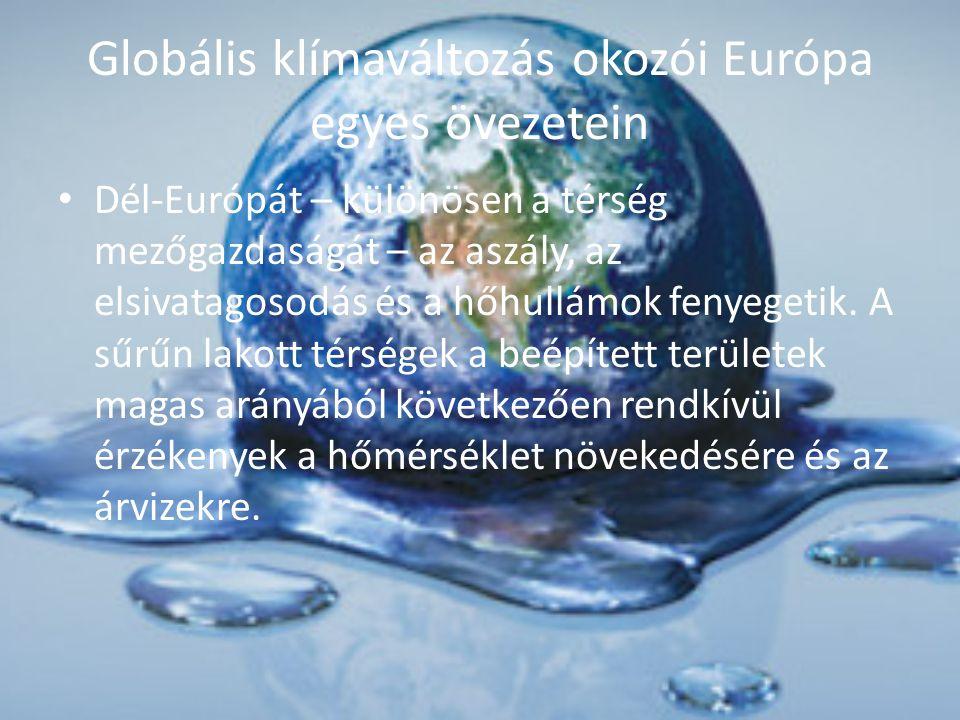 Globális klímaváltozás okozói Európa egyes övezetein Dél-Európát – különösen a térség mezőgazdaságát – az aszály, az elsivatagosodás és a hőhullámok f