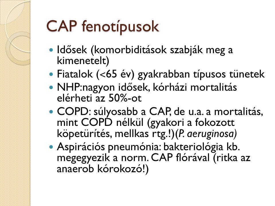 CAP fenotípusok Idősek (komorbiditások szabják meg a kimenetelt) Fiatalok ( ˂ 65 év) gyakrabban típusos tünetek NHP:nagyon idősek, kórházi mortalitás elérheti az 50%-ot COPD: súlyosabb a CAP, de u.a.
