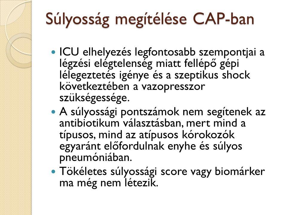 Súlyosság megítélése CAP-ban ICU elhelyezés legfontosabb szempontjai a légzési elégtelenség miatt fellépő gépi lélegeztetés igénye és a szeptikus shock következtében a vazopresszor szükségessége.