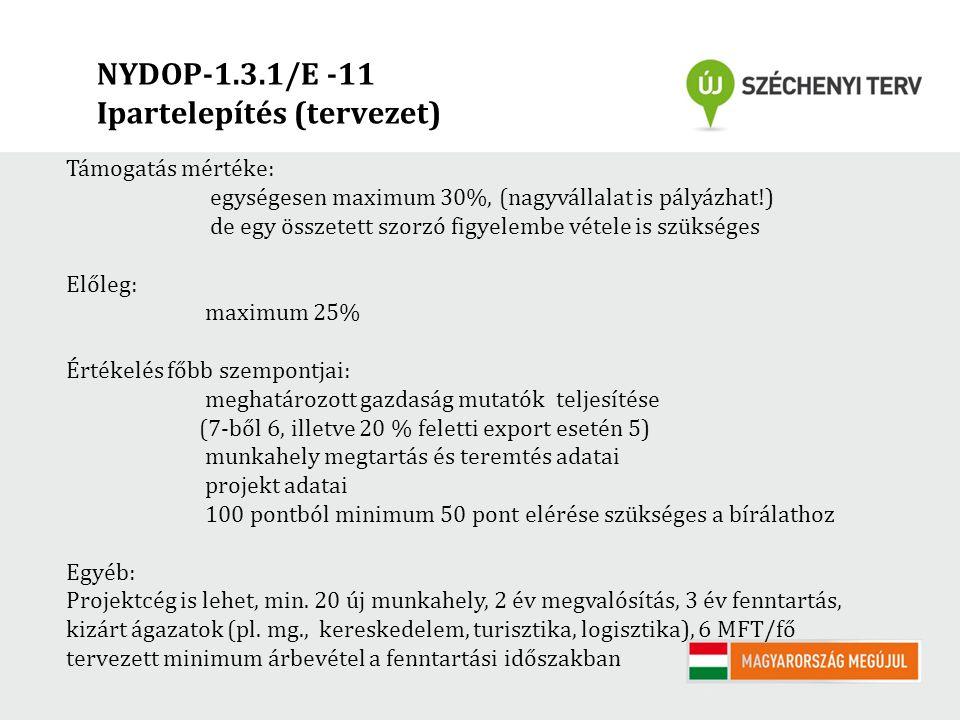NYDOP-1.3.1/E -11 Ipartelepítés (tervezet) Támogatás mértéke: egységesen maximum 30%, (nagyvállalat is pályázhat!) de egy összetett szorzó figyelembe