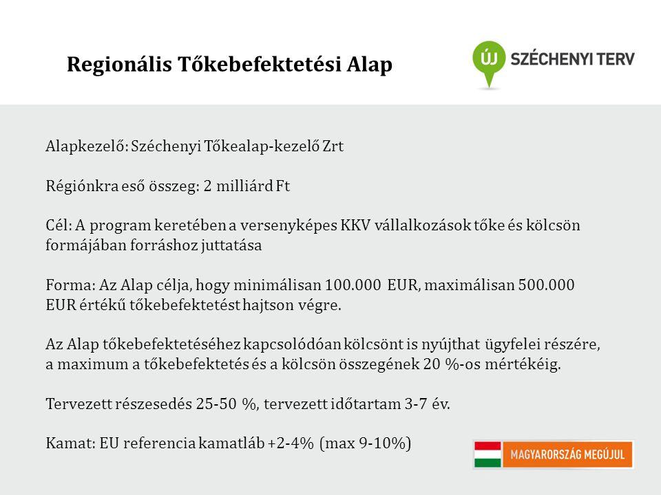 Regionális Tőkebefektetési Alap Alapkezelő: Széchenyi Tőkealap-kezelő Zrt Régiónkra eső összeg: 2 milliárd Ft Cél: A program keretében a versenyképes KKV vállalkozások tőke és kölcsön formájában forráshoz juttatása Forma: Az Alap célja, hogy minimálisan 100.000 EUR, maximálisan 500.000 EUR értékű tőkebefektetést hajtson végre.