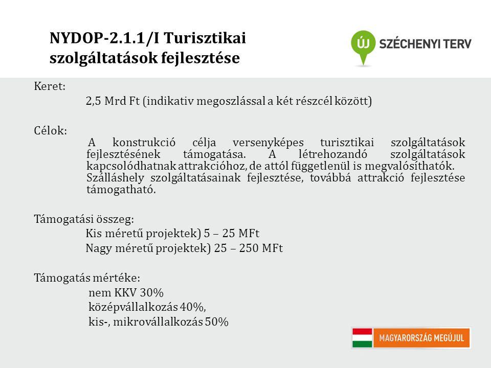 NYDOP-2.1.1/I Turisztikai szolgáltatások fejlesztése Keret: 2,5 Mrd Ft (indikativ megoszlással a két részcél között) Célok: A konstrukció célja versenyképes turisztikai szolgáltatások fejlesztésének támogatása.