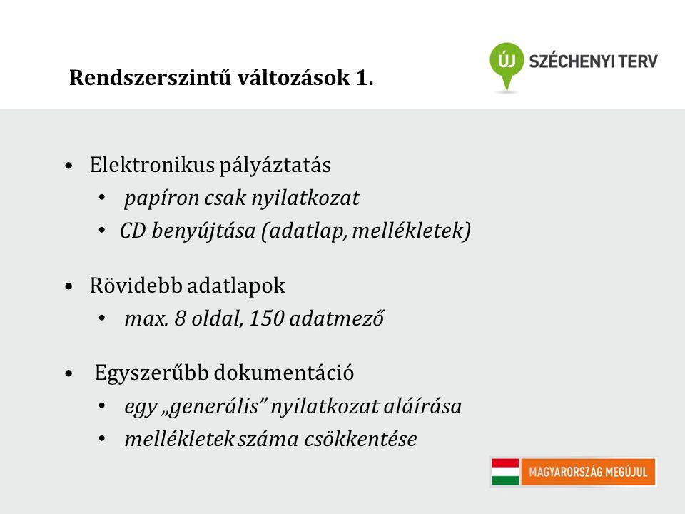 Rendszerszintű változások 1. Elektronikus pályáztatás papíron csak nyilatkozat CD benyújtása (adatlap, mellékletek) Rövidebb adatlapok max. 8 oldal, 1