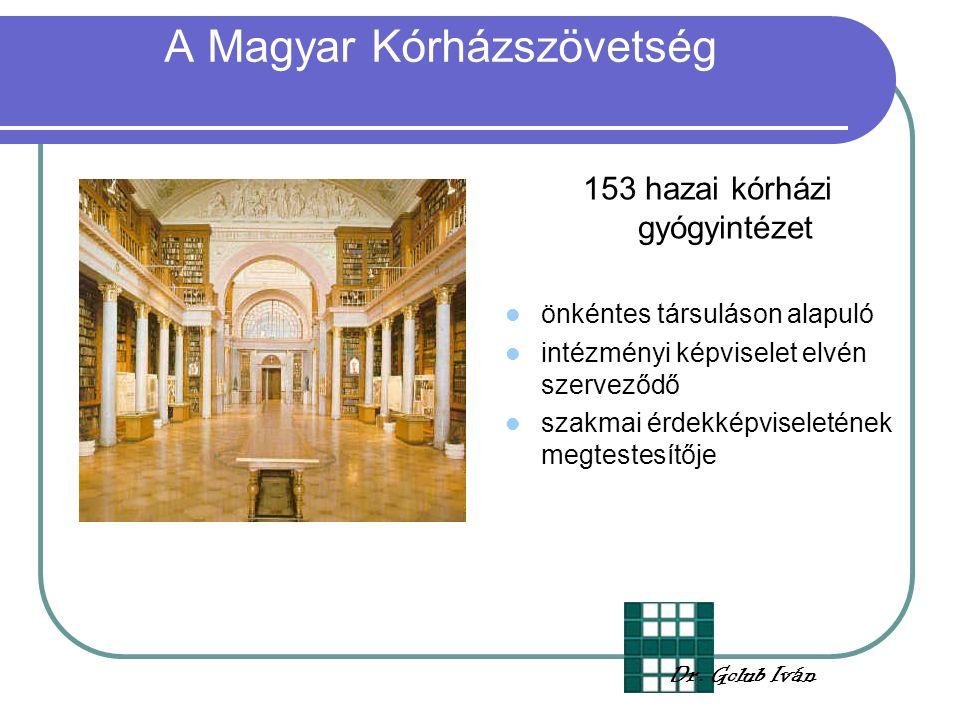 A Magyar Kórházszövetség 153 hazai kórházi gyógyintézet önkéntes társuláson alapuló intézményi képviselet elvén szerveződő szakmai érdekképviseletének megtestesítője Dr.