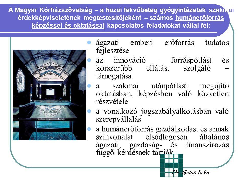 A Magyar Kórházszövetség – a hazai fekvőbeteg gyógyintézetek szakmai érdekképviseletének megtestesítőjeként – számos humánerőforrás képzéssel és oktatással kapcsolatos feladatokat vállal fel: ágazati emberi erőforrás tudatos fejlesztése az innováció – forráspótlást és korszerűbb ellátást szolgáló – támogatása a szakmai utánpótlást megújító oktatásban, képzésben való közvetlen részvétele a vonatkozó jogszabályalkotásban való szerepvállalás a humánerőforrás gazdálkodást és annak színvonalát elsődlegesen általános ágazati, gazdaság- és finanszírozás függő kérdésnek tartják Dr.