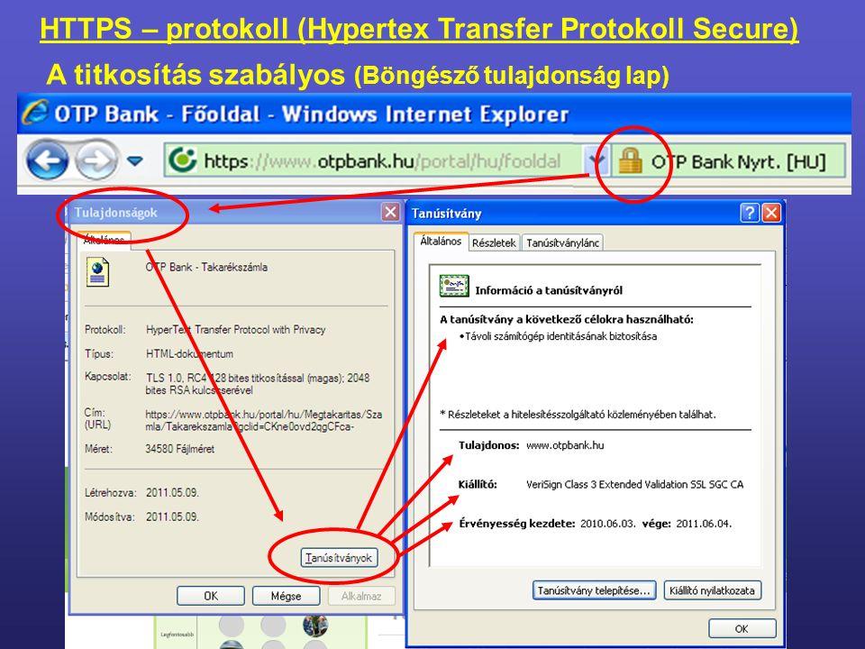 https://www.otpbank.hu/portal/hu/fooldal Használandó protokoll webszerverfőoldal pontos helye a szerveren a gép neve (IP) – domain név Magyarország HTTPS – protokoll (Hypertex Transfer Protokoll Secure) A böngésző program és a kiszolgáló között kapcsolatot teremtő szabályrendszer.