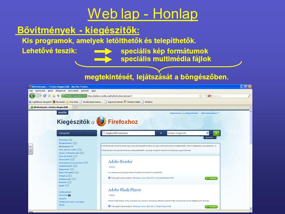 Web lap - Honlap Tartalma:Szöveg Képek Mozgókép, zene Alkalmazások (programok) stb.
