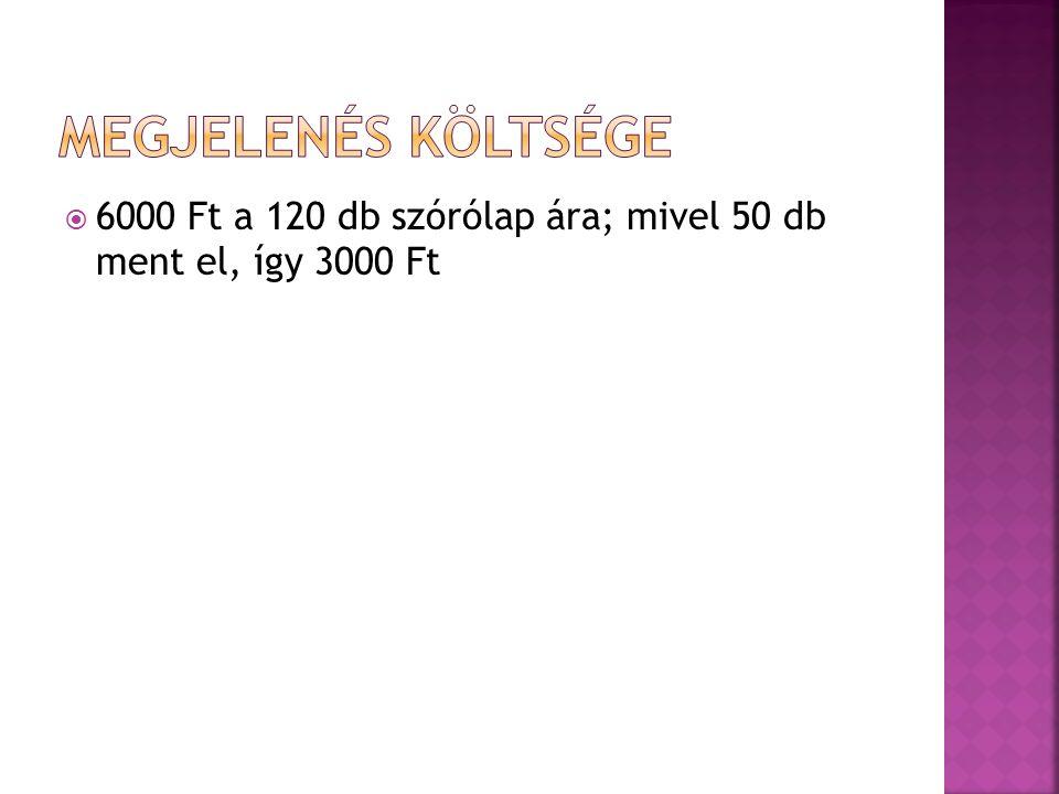  6000 Ft a 120 db szórólap ára; mivel 50 db ment el, így 3000 Ft