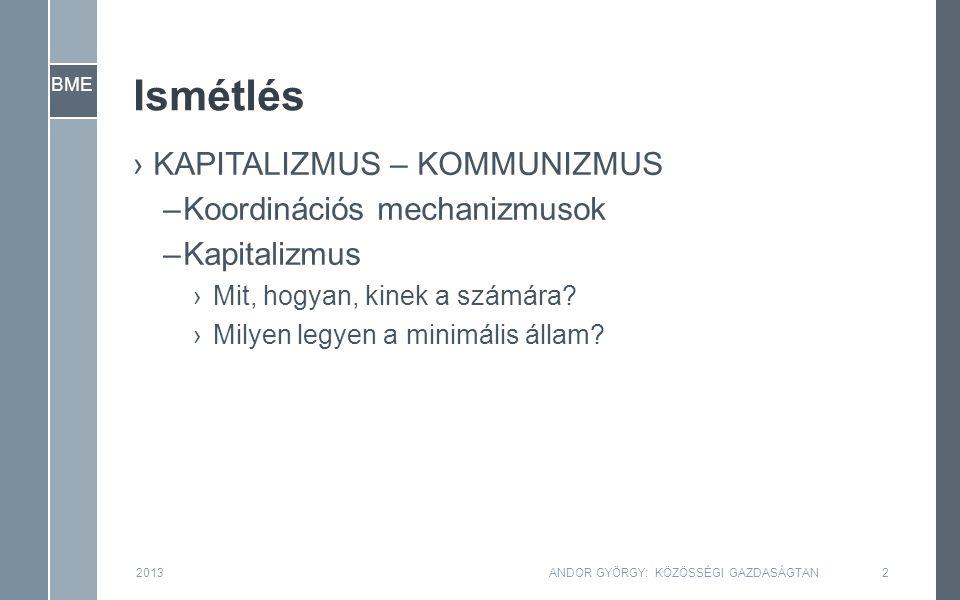 BME Ismétlés ›KAPITALIZMUS – KOMMUNIZMUS –Koordinációs mechanizmusok –Kapitalizmus ›Mit, hogyan, kinek a számára.